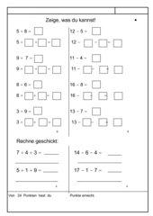 Lernzielkontrolle: Zehnerübergang in zwei Schritten