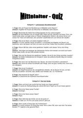 Mittelalter - Quiz