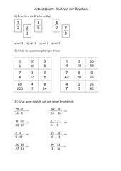 Multiplikation von Brüchen Arbeitsblatt