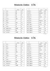 LÜK mit den Römischen Zahlen
