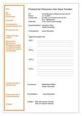 Regelblatt / Folie Protokoll
