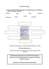 Arbeitsblatt zu den Himmelrichtungen