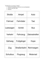 Wortkärtchen zum Thema Verkehr (Nomen) 2. Klasse