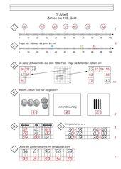 Mathematikarbeit Klasse 2 - Zahlen bis 100 - Geld