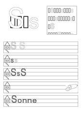 Zwei Arbeitsblätter zur Einführung des Buchstaben S/s