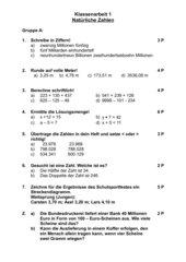 Klassenarbeit mit Lösung Natürliche Zahlen Klasse 5