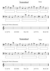 Arbeitsblatt Notenkunde - für den Bassschlüssel