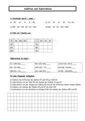 Addition und Subtraktion 5. Klasse