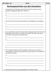 Lernzielkontrolle Sachaufgaben 1x1 (3.Klasse)