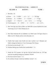 Mathematikarbeit Zinsrechnen