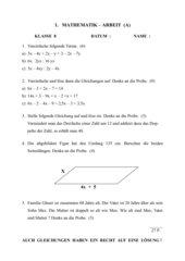 Mathematikarbeit Terme und Gleichungen
