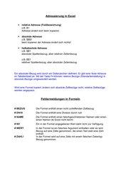 Adressierung inMS-Excel