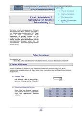 Arbeitsblatt zur Formatierung von Tabellen in Excel 2003