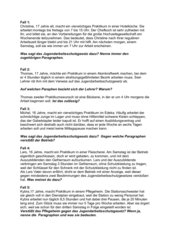 Fallanalysen zum Jugendarbeitsschutzgesetz