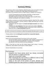 Summary Writing Guidelines