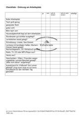 Checkliste-Ordnung am Arbeitsplatz