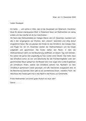 Brief über österreichische Weihnachten