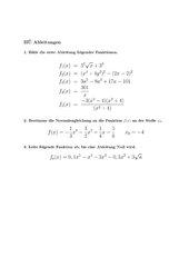 Grundkurs Kurzkontrolle Ableitungen und Normale