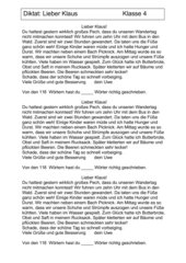 Diktatübungen Klasse 4 -  Thema: Wandertag ( Briefform)