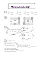Mathematikarbeit (Nr.1 - 3. Klasse/BW)