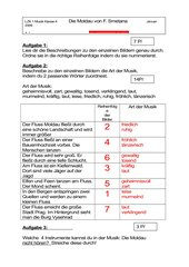 Musiktest zur Moldau von F. Smetana, Klasse 3 / 4