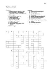 Begriffe aus der Optik-Kreuzworträtsel