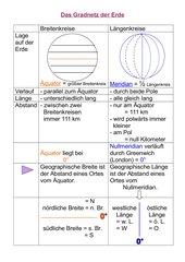 Gradnetz–Grundlagen: Vergleich Längen- u Breitenkreise