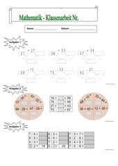 Mathematik-Klassenarbeit (3.Klasse/BW)