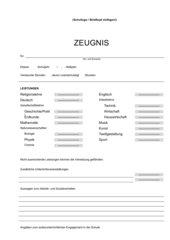 Zeugnisformular für Hauptschulen in NRW (Word) mit Formularfeldern