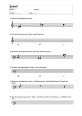 Musiktest zu Noten und Pausen (und Noten- u. Pausenwerte)
