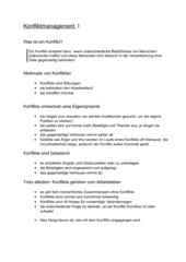 Kommunikation - Konfliktmanagement I