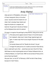 Andy Warhol - Fehlertext über seine Biografie in Englisch