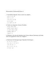 Klassenarbeit Terme und Gleichungen Klasse 8