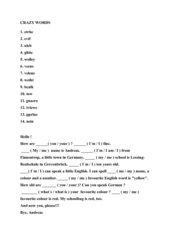 Lernspiel für den Englischunterricht - Crazy words