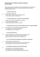 Sinnerfassendes Lesen am Beispiel der Geschichte von Frederick der Feldmaus von Leo Lionni mit Lösungen