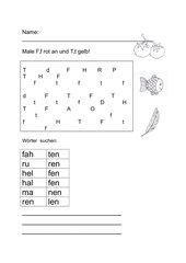 Differenzierungs- und Schreibübung für Kl.1---F-T