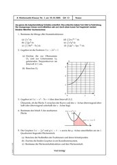 Klausur Analysis - Integralrechnung 1