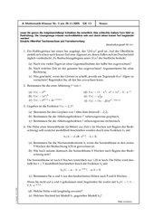 Klausur Analysis - Exponentialfunktionen