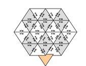 Achteckpuzzle aus dreieckigen Einzelteilen (Trimino)