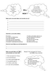 Arbeitsblatt will- und if-Sätze