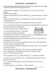 Bruchrechnungen - Textaufgaben