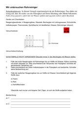 Schülerexperiment zum Rohrreiniger 8. Klasse Hauptschule