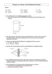 Übungsblatt zur Volumen- und Oberflächenberechnung (Kegel und Zylinder)
