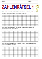 Zahlenrätsel 1 - mit Lösungen