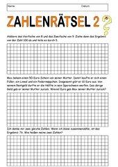Zahlenrätsel 2 - mit Lösungen