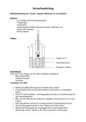 Versuchsanleitung Wärmeisolierung