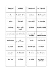 Memo-Spiel / Zuordnungsspiel:  les moyens de transport