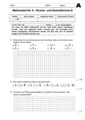 Mathearbeit Jg. 6 HS - Multiplikation & Division von Brüchen und Dezimalbrüchen