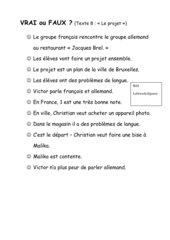 Découvertes neu, Band 1, Lecon 8 - Vrai-Faux-Aufgaben zum Lektionstext 8
