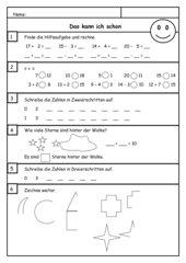 LZK Klasse 1 Zahlenraum bis 20 (mit Lösung)